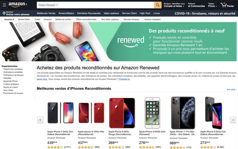 Page d'Accueil d'Amazon Renewed
