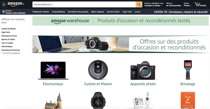 Page d'accueil d'Amazon Warehouse