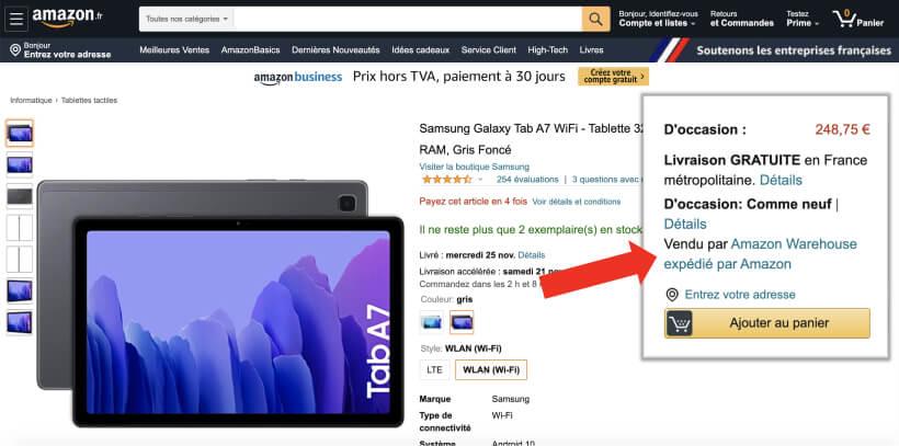 Identification du vendeur sur les fiches produit Amazon