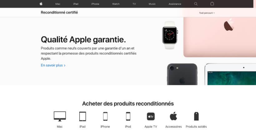 Page d'accueil de Apple reconditionné