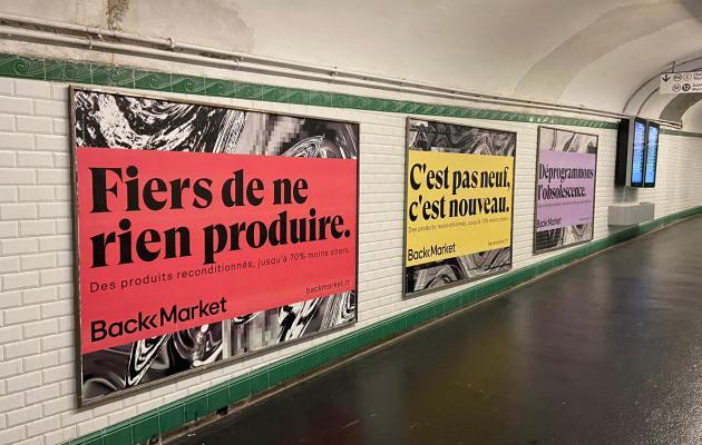 Publicité BackMarket dans le métro parisien en 2020