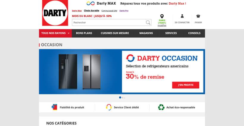 Page d'accueil de Darty Occasion