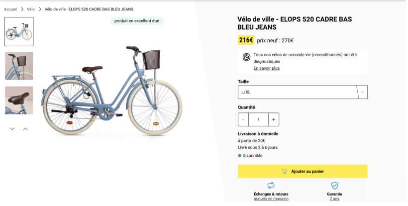 Capture d'écran de la page du vélo de ville Elops 520 sur le site de Decathlon Seconde Vie