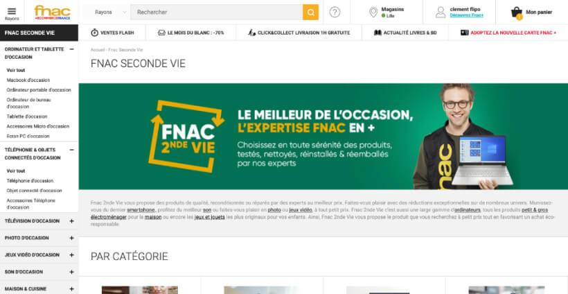 Page d'accueil de Fnac 2nde vie