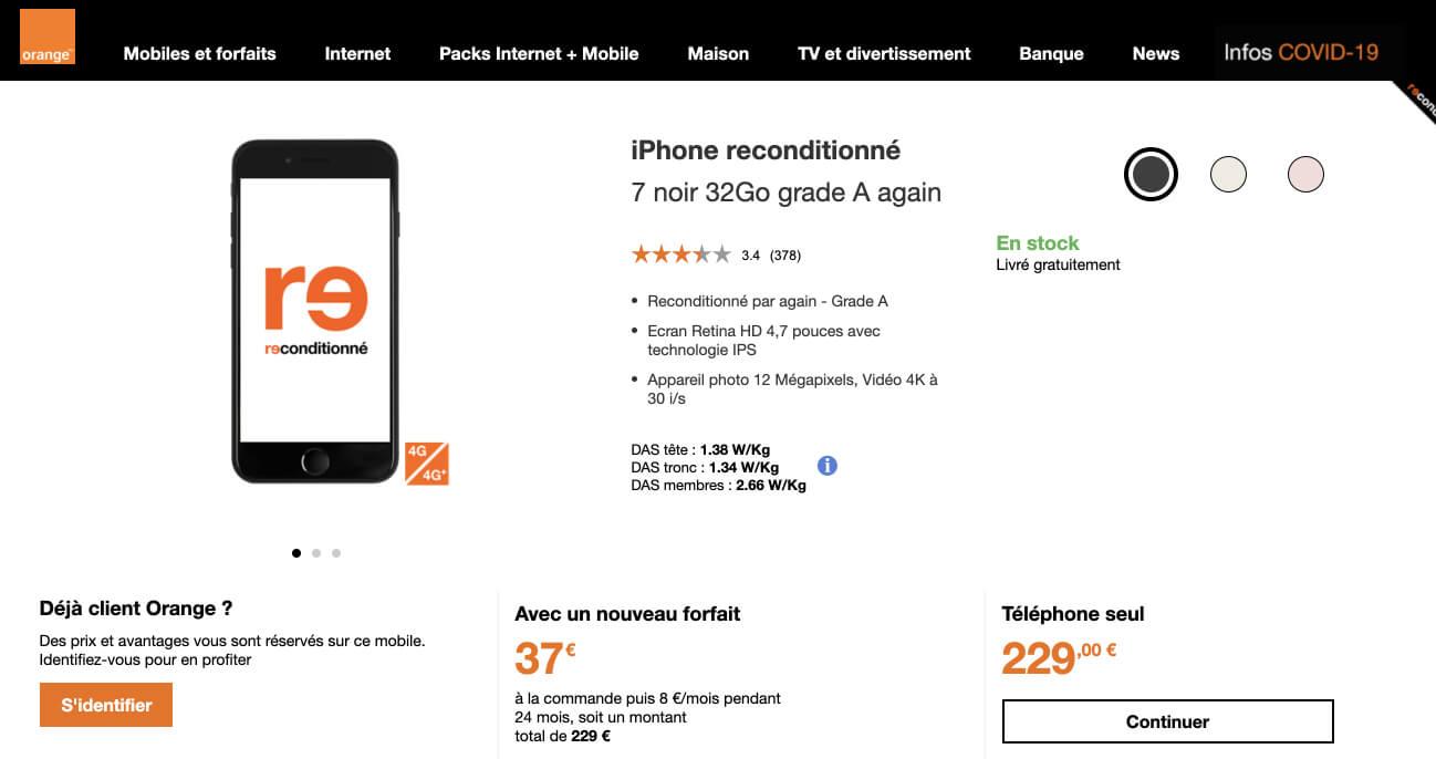 Fiche produit d'un iPhone 7 32Go reconditionné sur le site d'Orange
