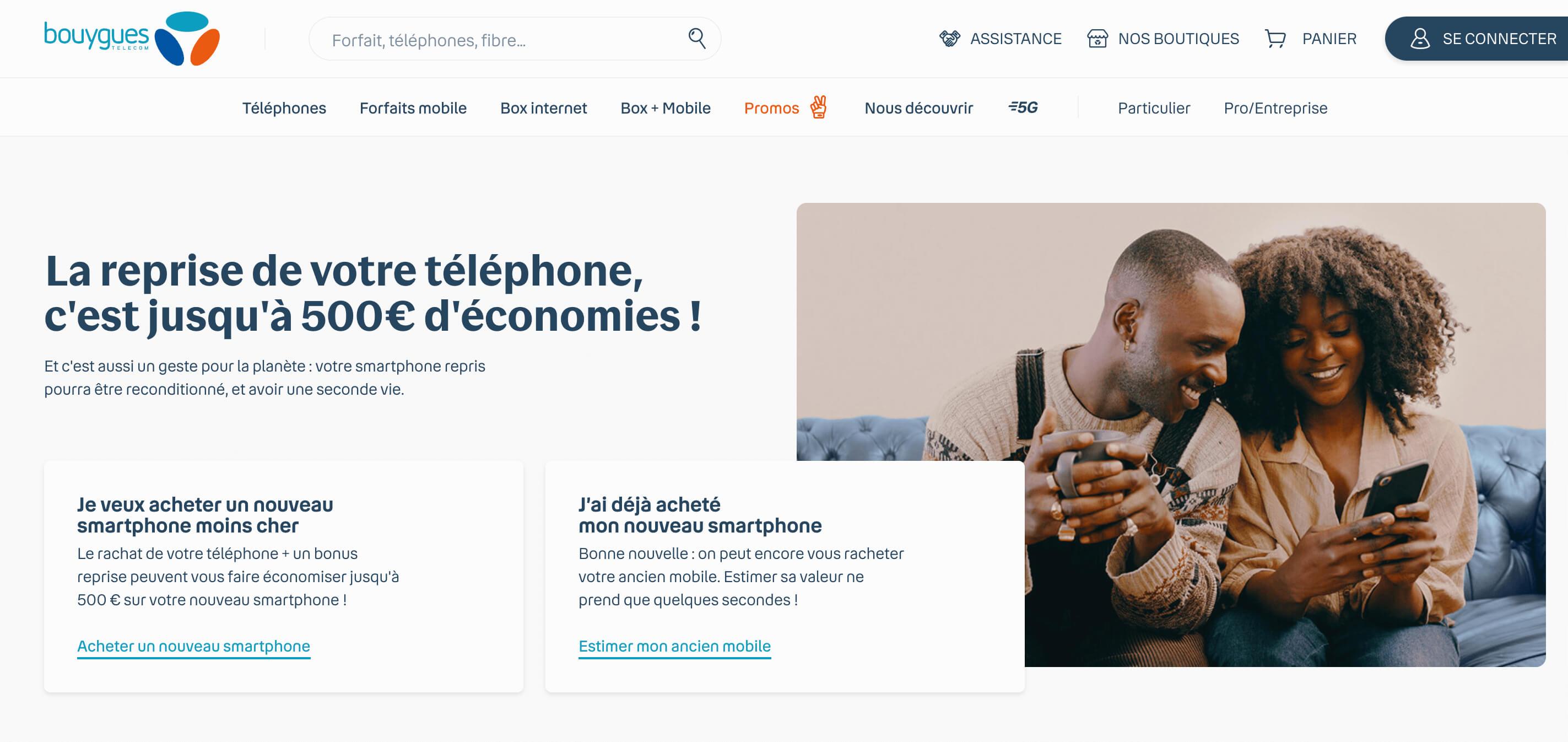 Page d'accueil du site de reprise de mobile de Bouygues Telecom