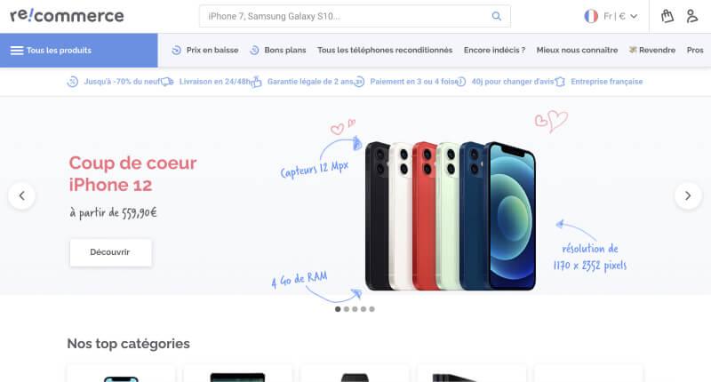 Page d'accueil de Recommerce