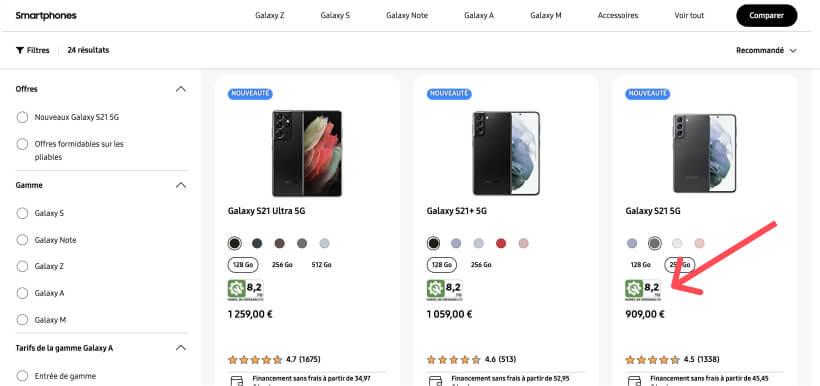 Capture d'écran du site samsung.com