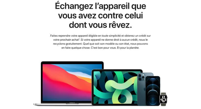 Page de la reprise par Apple