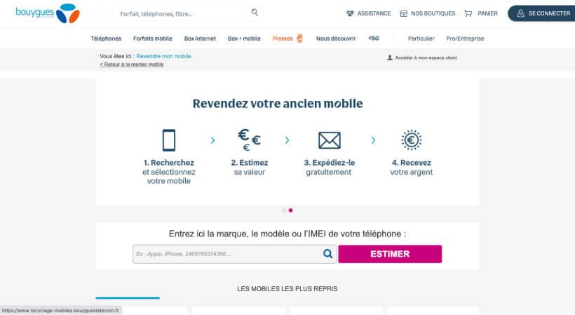 Page de la reprise par Bouygues Telecom