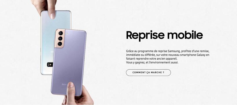 Page de la reprise par Samsung