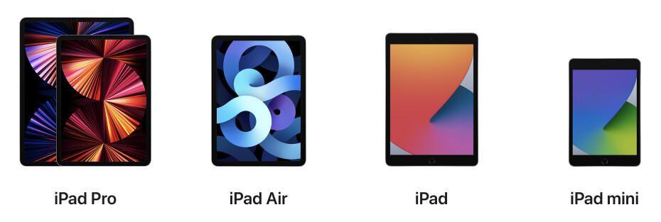 Photo des 4 modèles d'iPad : iPad Pro, l'iPad Air, l'iPad et l'ipAd Mini